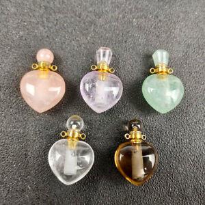 Natural quartz crystal heart Perfume bottles pendant Essential oil bottle reiki