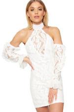 Vestiti da donna a manica lunga bianco a barchetta