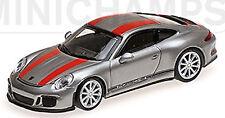 PORSCHE 911R Coupé 2016 Plata + red stripe 1:87 MINICHAMPS