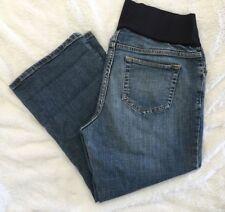 LIZ LANGE MATERNITY Crop / Capri Jeans 12 EUC Below Belly Wide Leg