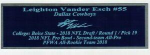 Leighton Vander Esch Autograph Nameplate Dallas Cowboys Jersey Helmet Photo