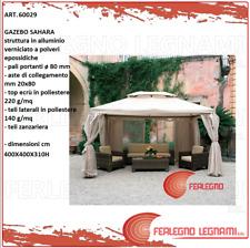 GAZEBO ALLUMINIO CON TELI LATERALI ZANZARIERA 4X4MT ARREDO GIARDINO ART. 60029