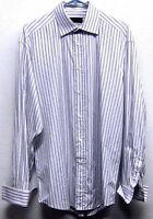 CANALI MENS (41/16) BUTTON-FRONT LAVENDER & GRAY STRIPED L/S COTTON SHIRT ITALY