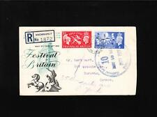 Great Britain George Vi Registered 1st Day Festival of Britain Set to Canada z86