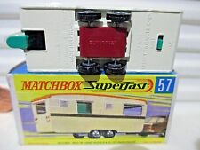 Rare 1970 LESNEY MATCHBOX MB57 Cream ECCLES CARAVAN Brown Stripe Red Axle Cover