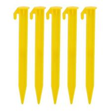 5 YELLOW DURABLE PLASTIC CAMPING & AWNING TENT SAND GROUND PEGS STAKES NAILS ZH