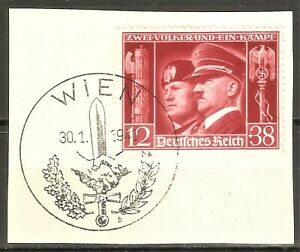 DR WWII Germany Rare WW2 Stamp Hitler Mussolini First Day Issue Fascist  Allianc