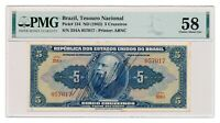 BRAZIL banknote 5 Cruzeiros 1943 PMG AU 58 Choice About Uncirculated