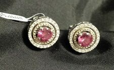 Created Ruby & Diamond Accent Birthstone Earrings in Sterling Silver & 14K YG