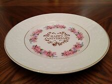 """WEATHERBY ROYAL FALCON Giftware """"Happy Anniversary"""" Floral Gold Trim 10"""" Plate"""