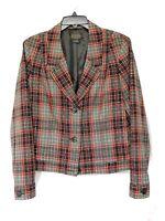 Women's Pendleton Jacket Sz 14 Gray Red Wool Blend Short Bomber Style New