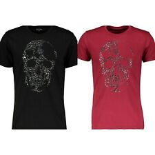 BOLONGARO TREVOR Men's Studded Death T-Shirt.  Colour: Black; Persian Red