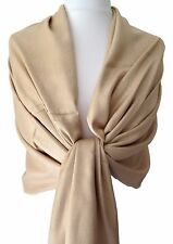 Pashmina Wrap Scarf Beige Camel Fair Trade Ladies Shawl New Wedding Prom Wrap