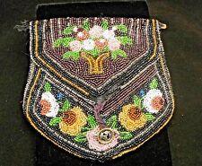 Antique Beaded Handbag/Purse-black purple floral w/steelcut button-Victorian