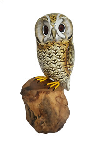 Owl on Tree Trunk Wood Carving/Hand Painted/Rustic/Solid Wood/Decorative