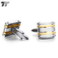Elegant MENS TT Two-Tone Silver/Gold Stripe Stainless Steel Cufflinks CU51J NEW