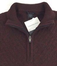 New Calvin Klein Size XL - mens BURGUNDY BLACK Mock Neck 1/4 ZIP Sweater XL