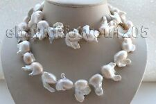 "33"" Genuine Natural 32mm White Reborn Keshi Pearl Necklace 14k #f1820!"