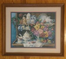 """Homco/Home Interiors Picture/Barbara Mock. Wood Frame 26.5"""" W x 22.5"""" H"""