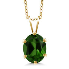 1.20 Ct Green Chrome Diopside 18K Yellow Gold Plated Silver Pendant With Chain