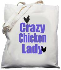 Crazy Chicken Lady - Natural (Cream) Cotton Shoulder Bag