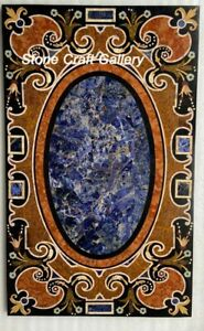 "36"" x 22"" Marble Table Top Pietra Dura Work Home Decor Handmade"