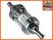 """Short Chrome & Glass Fuel Petrol Inline Filter 1/4"""" / 6mm For Motorcycle"""