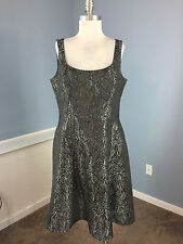JONES WEAR Gray Silver Brocade Cocktail party Dress XL 14 Excellent Fit Flare