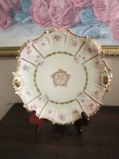 Limoges Coiffe France Hand Painted Cabinet Plate Roses Gold