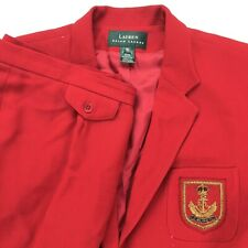 Ralph Lauren LRL Women's Nautical Crest Suit Wool Red • Jacket 16 | Pants 16