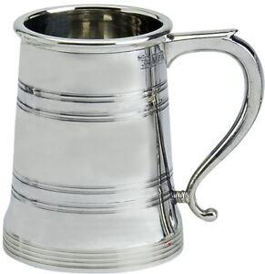 Pewterware 1 pint Tankard Traditional Shape Beer Mug Engravable Glass Base
