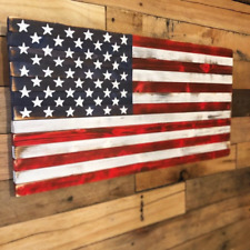 Wooden American Flag Rustic Handmade Handpainted Burned Wood