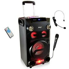Portable PA Bluetooth Loudspeaker Speaker System Karaoke Microphone DJ Lights