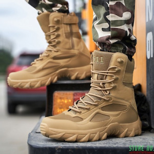 Desert Outdoor Tactical Boots Men Military Boots  High Top Non Slip Hiking Shoes