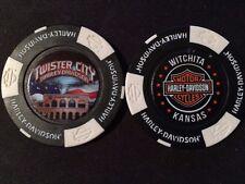 "Harley Golf Ball Marker Poker Chip (Black/White) ""Twister City"" Wichita KS ERROR"