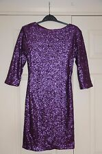 New 8 Fully Sequin Sequinned Cadbury's Purple Wiggle Dress 3/4 Sleeves Gift