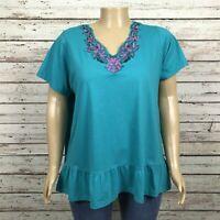 Roaman's Shirt T-shirt Top 2X PLUS Green Pink Floral V-neck Peplum Ruffle Hem