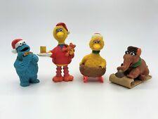 Sesame Street 2 Big Bird Cookie Monster Snuffleupagus Christmas PVC Figure Lot