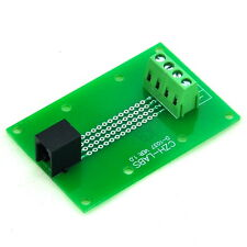 RJ9 4P4C Right Angle Jack Breakout Board, Terminal Block Connector.