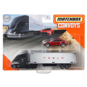 Matchbox Convoys Semi + Box Trailer + 2015 Tesla Model S Red New