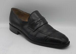 Men's BALLY Switzerland Size 8 UK Black Leather Penny Loafers Slip On In E U C