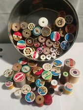 64 VINTAGE WOODEN SPOOLS SEWING  THREAD MIXED LOT OF  COLORS SIZES MAKERS