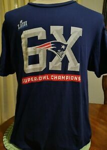 "New England Patriots 6X Super Bowl LIII Super Bowl Champions T Shirt LARGE 42"""