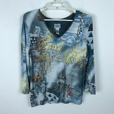 Chico's Novelty Blouse Size 1 China Travel Sailing Map Blue Brown 3/4 Sleeve