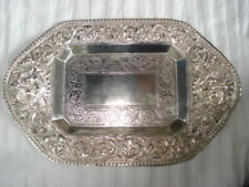 19th Century - Hand Made Indonesian Silver (800) Rectangular Calling Card Tray