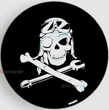 "SPARE TIRE COVER 24.5""-25.9"" with safari Mechanic Pirate Skull white on black PH"