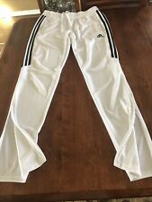 Mens Adidas White Jogger Running Sweat Pants Medium Tapered Mint Condition