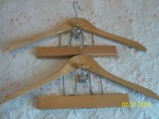 Lot of 2 Vintage Wooden Hangers for Pants Trousers Suits Coats ~ NEW OLD STOCK