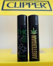 Micro Clipper Lighters x2 Cool Rare Amsterdam Weed THC Black Top Smoke Gift New
