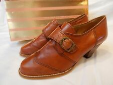 1960s Vintage Italian Shoes~Brown Leather Oxford wBuckle Mules Guild House 7M